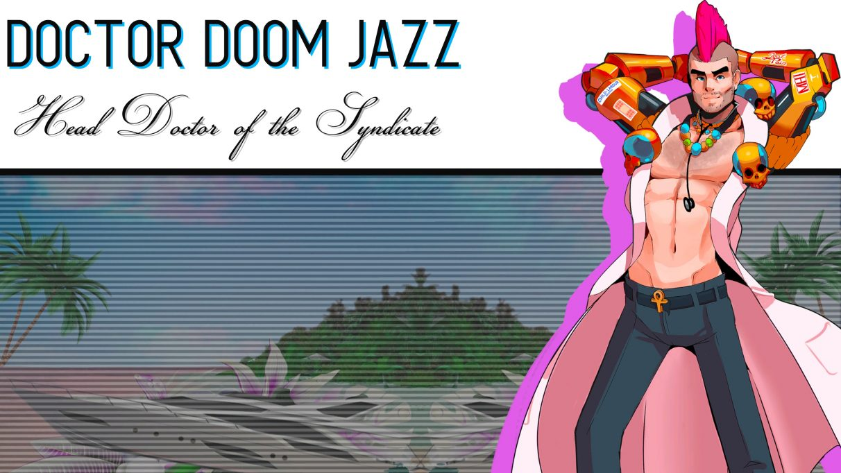 A screenshot of Dr Doom Jazz's introduction sequence in Paradise Killer.