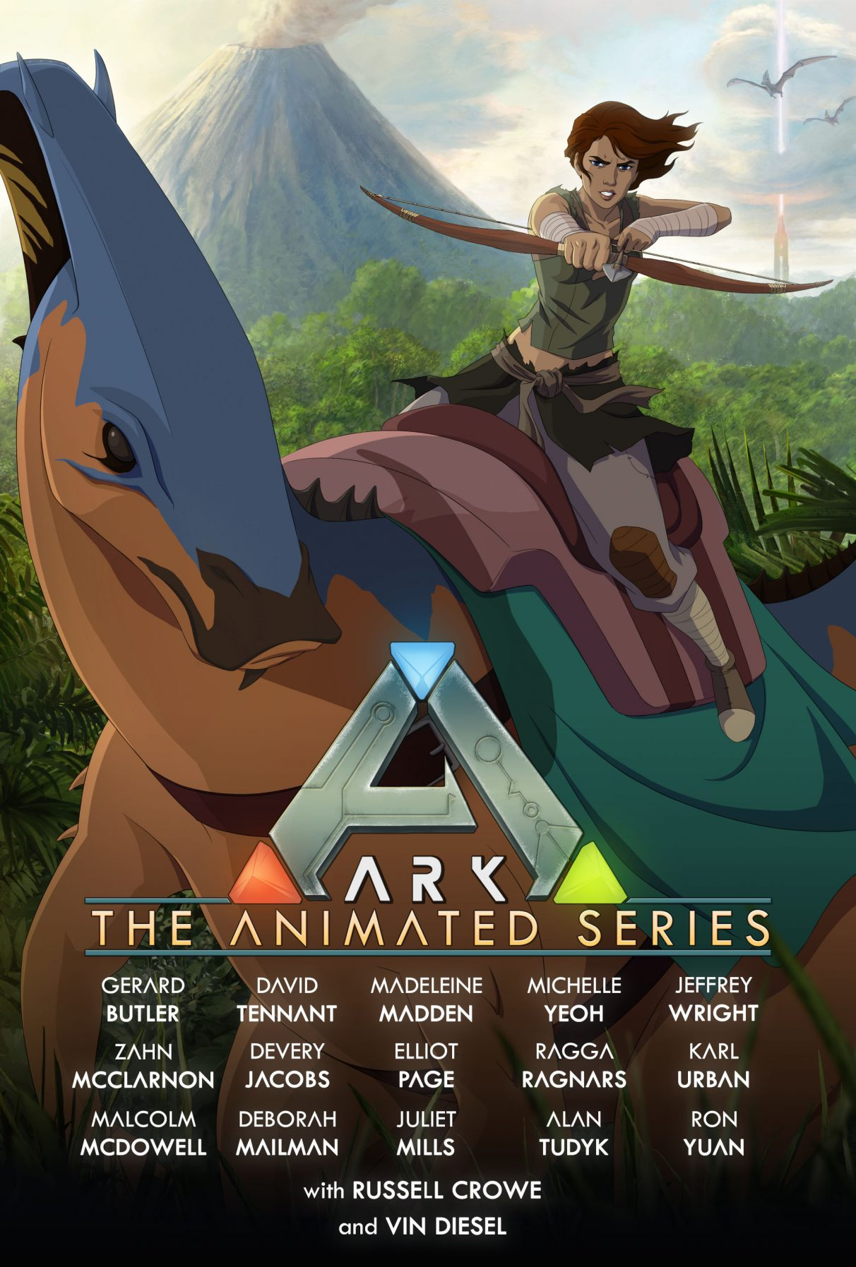 The poster for Ark: The Animated Series, listing its voice cast.