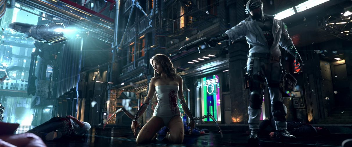 A woman with knife arms kneels amongst bodies while a cop points a gun at her head in a still frame from 2013's Cyberpunk 2077 teaser trailer.