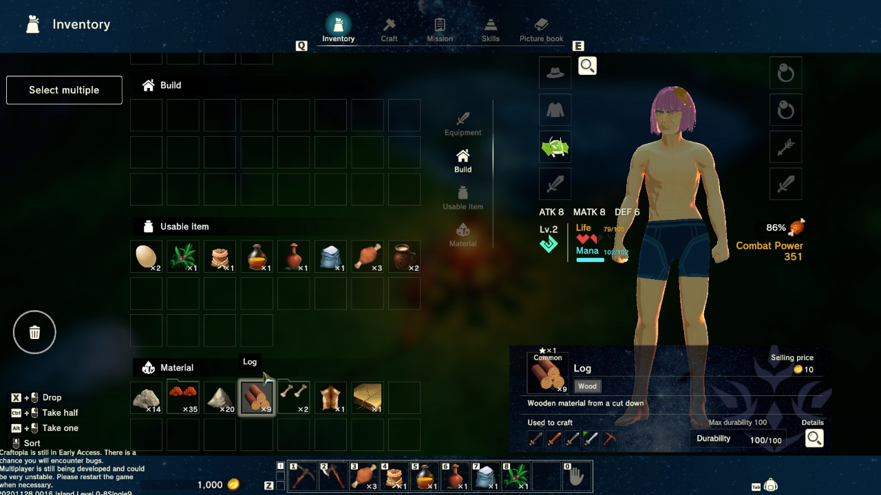 My character's inventory screen, home to tonnes of items and my half-naked character.