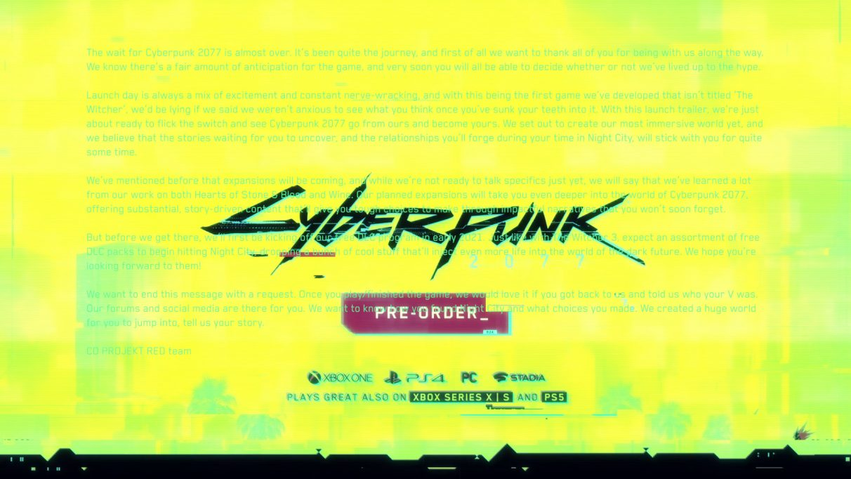 The hidden message in one frame of Cyberpunk 2077's launch trailer.