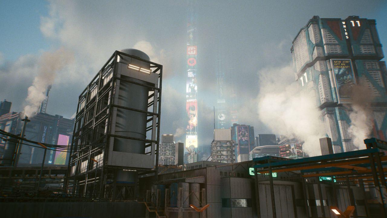 Bagian industri kota, pemandangannya adalah gudang di samping tangki penyimpanan cairan. Dari kejauhan terlihat rekaman iklan yang melesat ke langit dari pusat kota. Lebih dekat ke kamera adalah pilar asap dan uap.