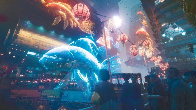 A screenshot of a parade in Cyberpunk 2077 with holographic projections of fish.