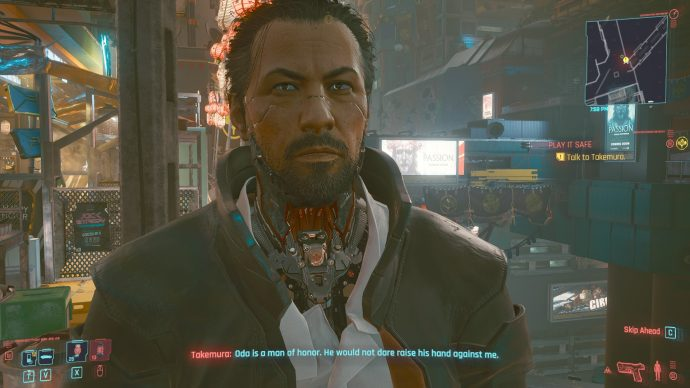 A screenshot of Takemura in Cyberpunk 2077, in which he is talking to the player.