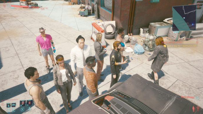 A screenshot of NPCs queuing behind a car in Cyberpunk 2077, when they could clearly just walk around it.