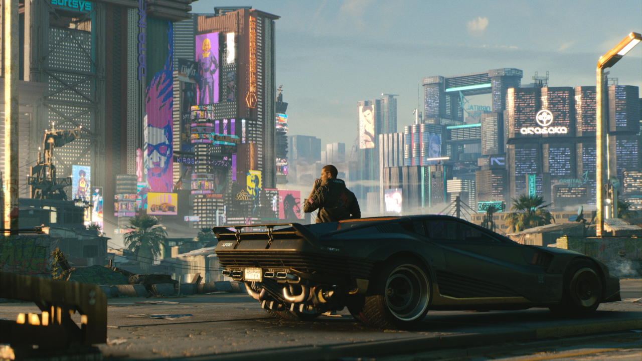 V reclines on his car, has a smoke, and looks out at the sprawling Night City.