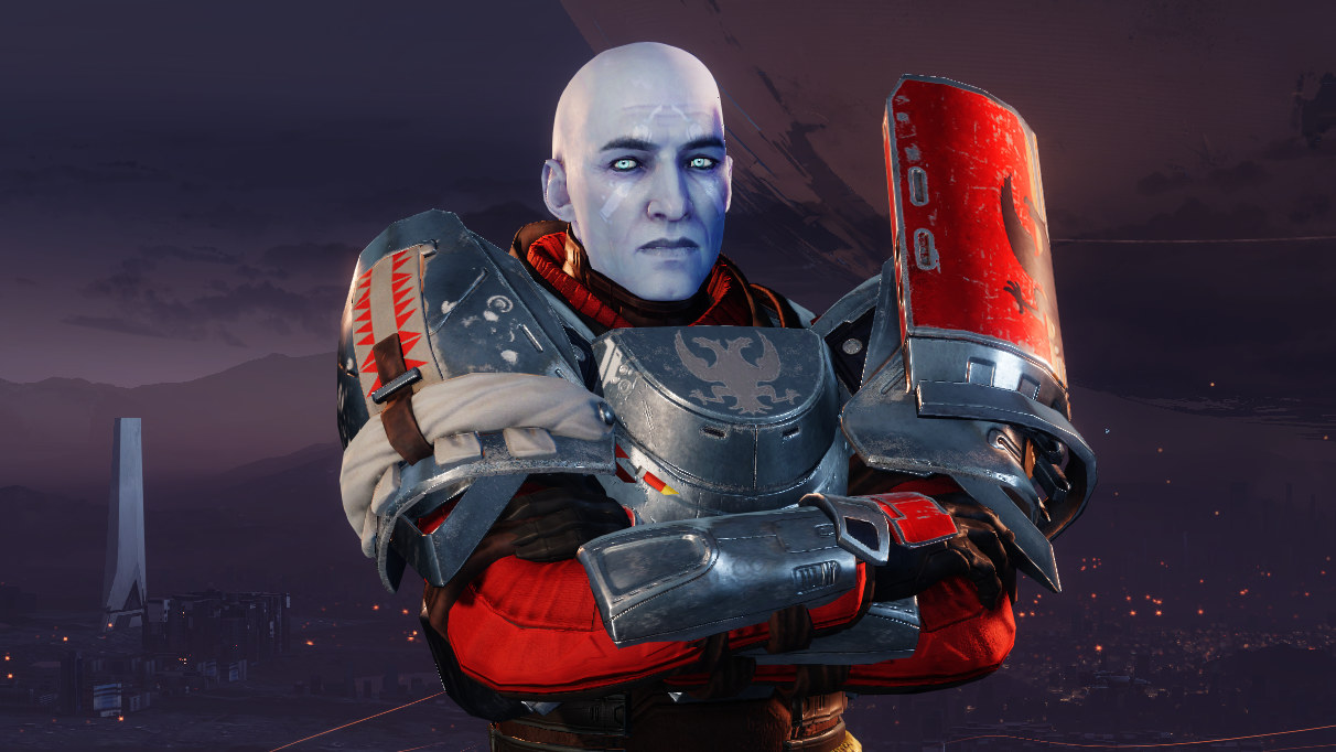 Commander Zavala poses in front of the Traveller in a Destiny 2 screnshot.