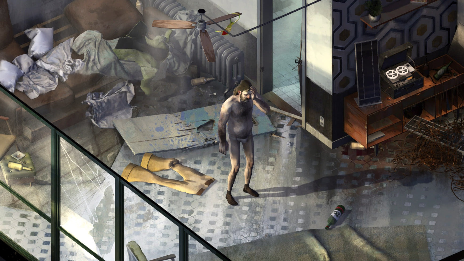 A shameful moment in a Disco Elysium screenshot.