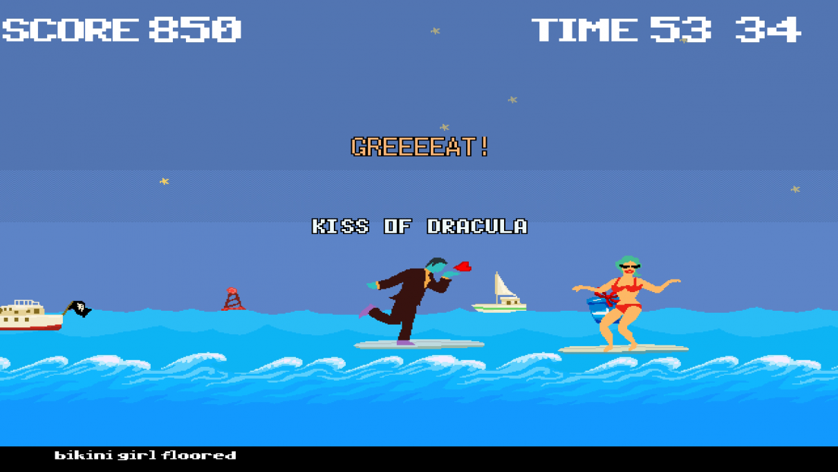 Dracula delivers his famous kiss from a surfboard in a Dracula Cha Cha screenshot.