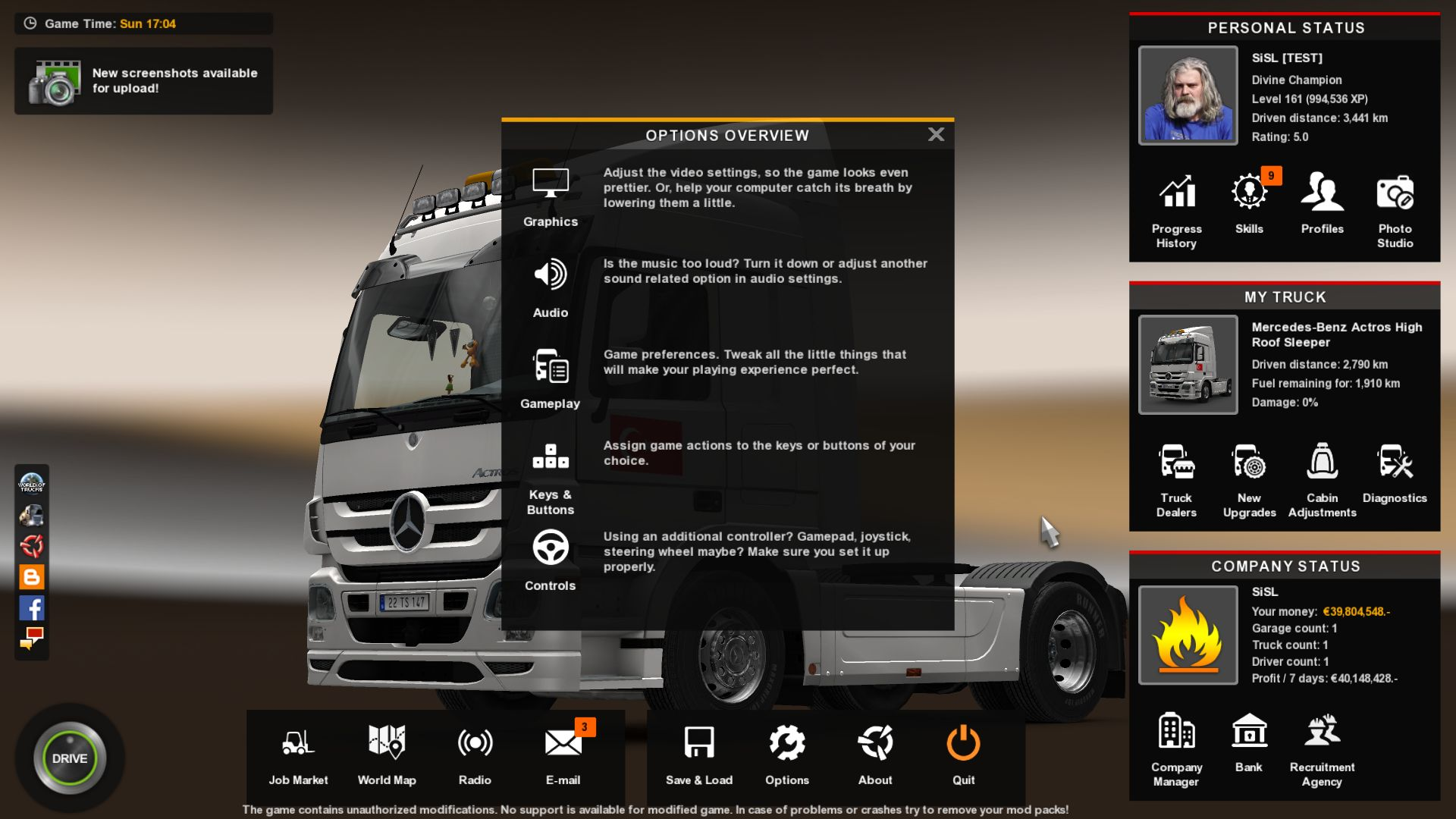 A Euro Truck Simulator 2 mod showing off a menu screen with a simplified UI. Flatter boxes cover up a truck.