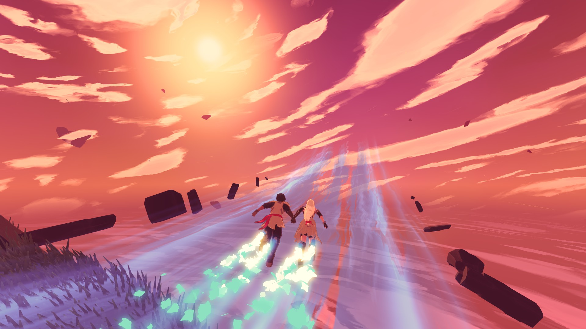 Yu and Kay hold hands and race into a beautiful orange sky on what looks like a wide blue river of flow energy.