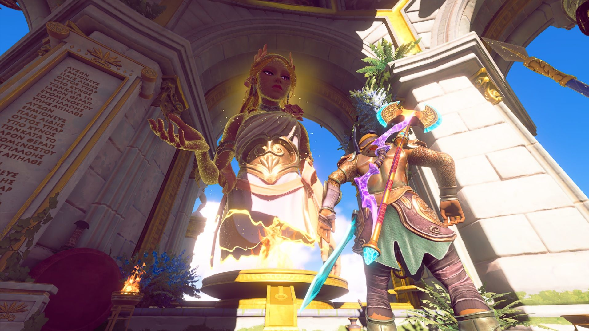 A screenshot of god-mode Aphrodite, from the angle of the floor, which is where Fenyx is standing. Aphrodite is blonde with purple eyes, and is wearing a flower crown and one-shoulder tunic with a large gold metal corset belt