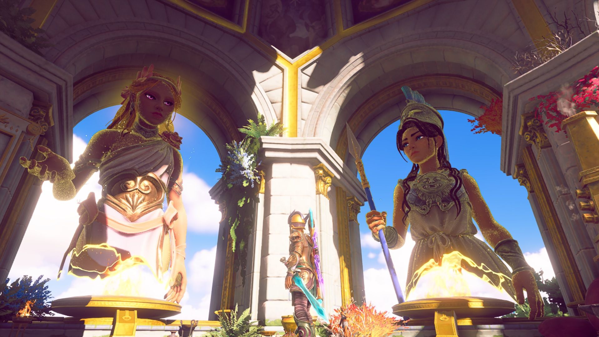 Fenyx stands looking up at Athena and Aphrodite, who are looking at each other in a kind of 'get a load of this guy' way.
