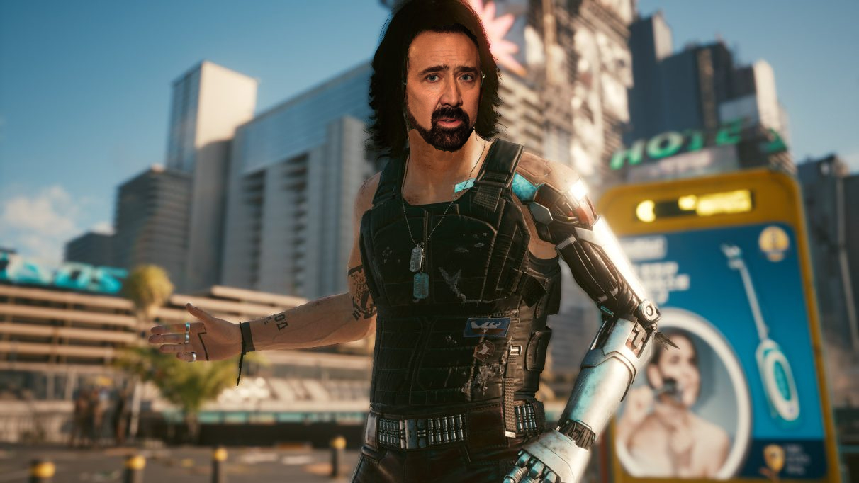 Johnny Silverhand from Cyberpunk 2077, but with Nicolas Cage's face