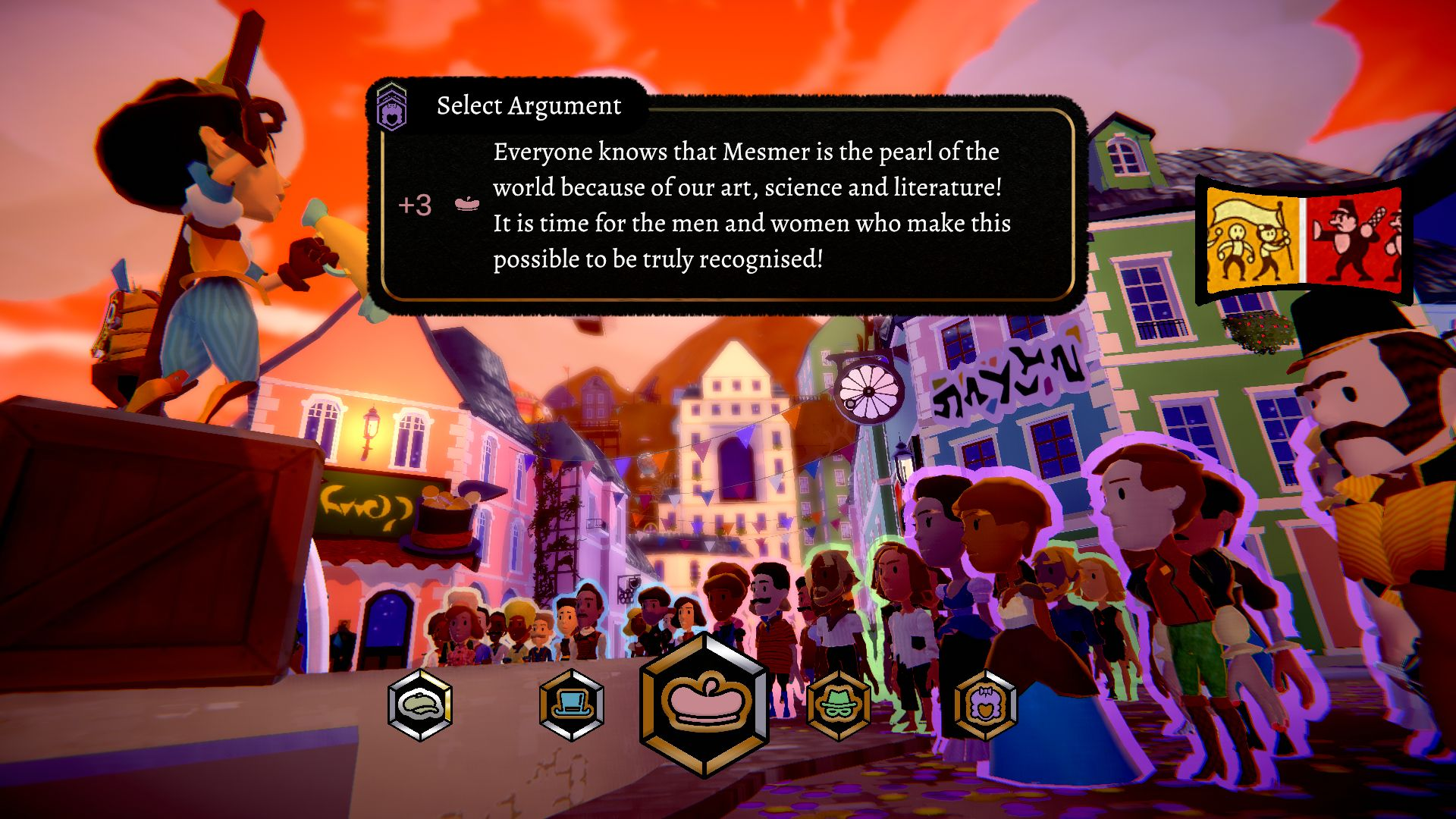 The player character in Mesmer stands on a box yelling at a crowd of locals through a loudspeaker.