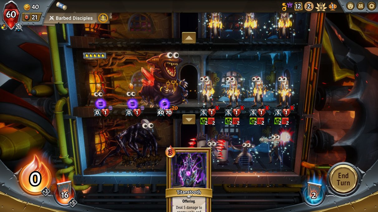 A Monster Train screenshots showing a train packed full of monsters, with the googly eyes mode enabled.