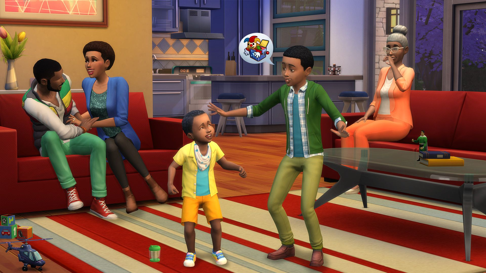 A typical living room scene from The Sims 4: two children play on the rug, while grown adults tickle each other on the sofa in the background.