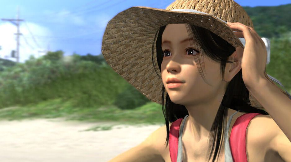 A screenshot of a jaunty orphan sitting on the beach in a sun hat