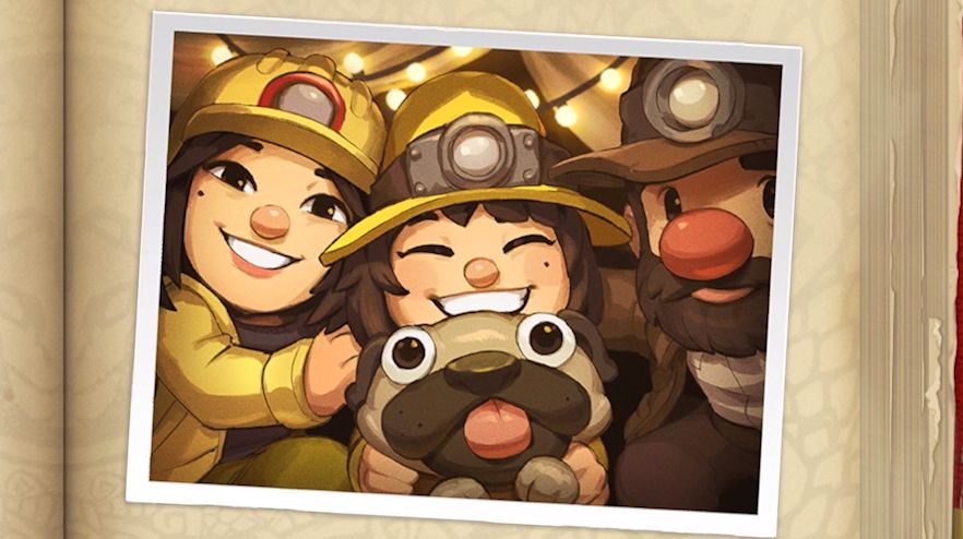 Art of the Spelunky family, consisting of mum Tina, dad Guy, a bug-eyed pug, and Ana Spelunky, protagonist and spelunker of Spelunky