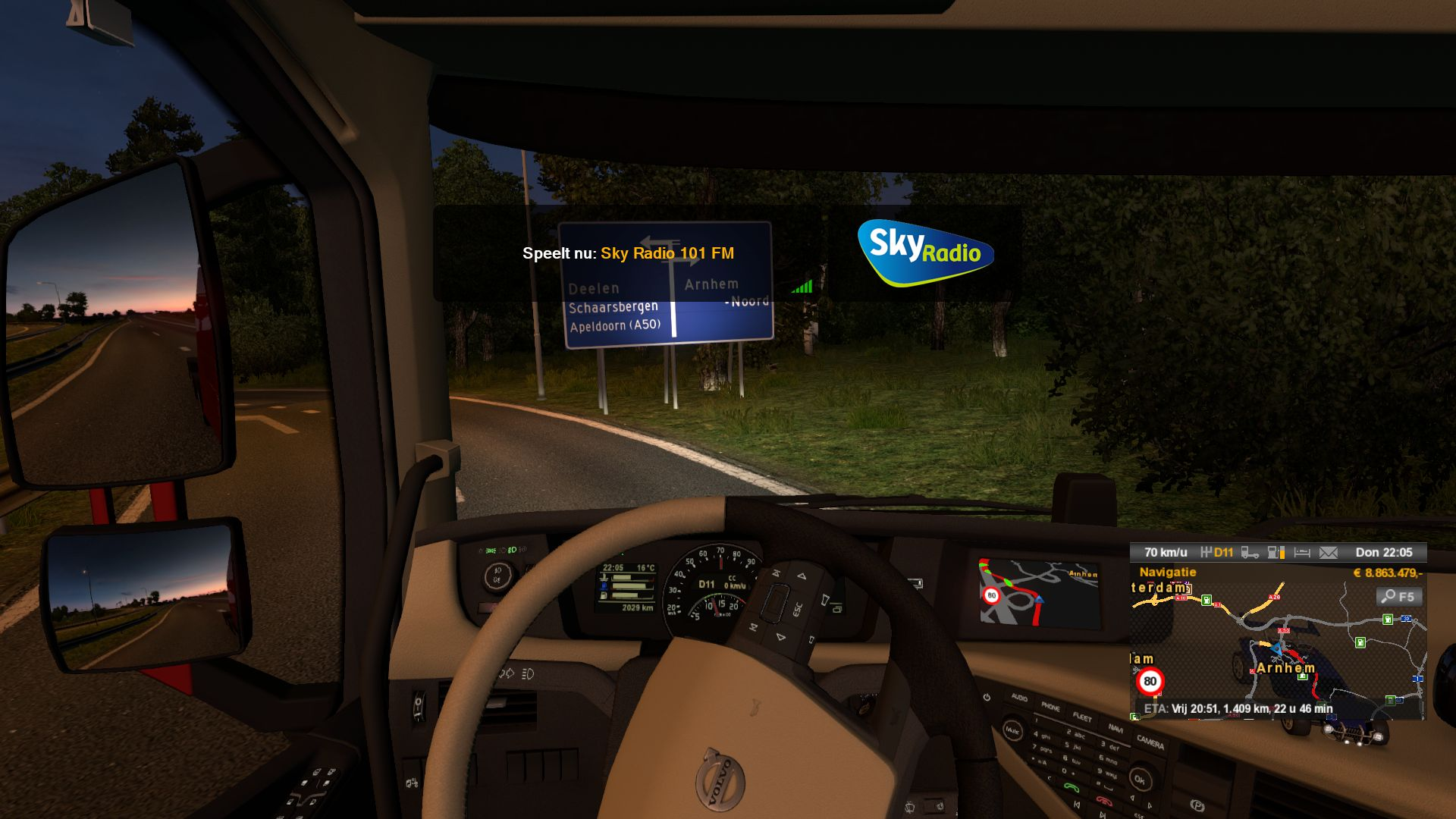 Euro Truck Sim 2 screenshot, showing the inside of a truck cab with a radio station logo being selected from the mod's list