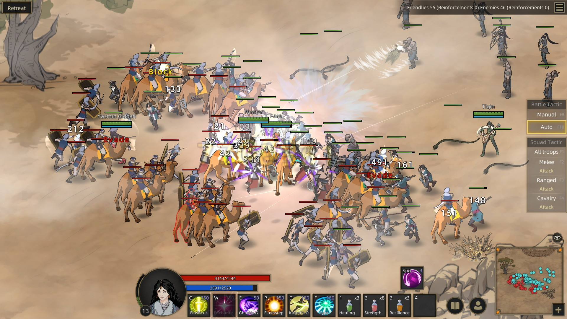 Two forces clash in a chaotic skirmish in a desert. One side, the enemy, is a troop of cavalry riding camels. The other side is infantry, but is backed up by archers and, yes, attack snakes