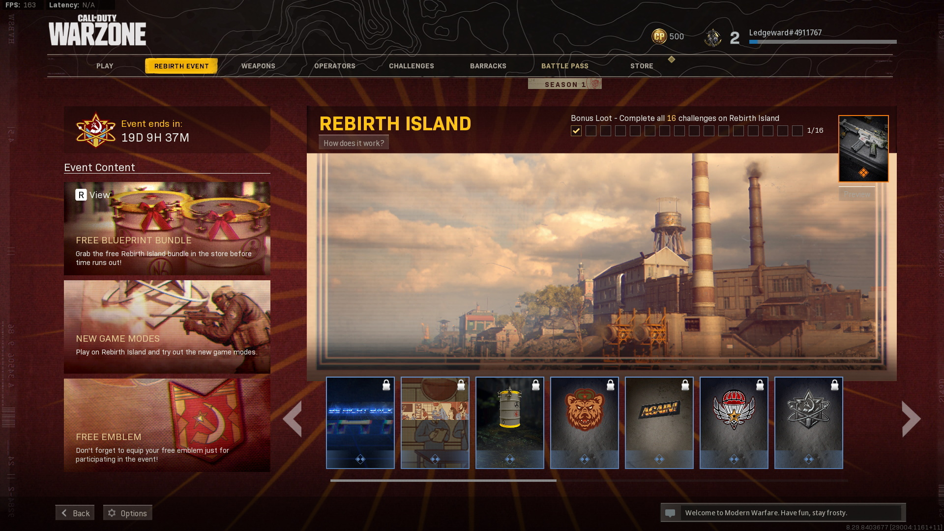Rebirth Island event tab in Cold War Warzone
