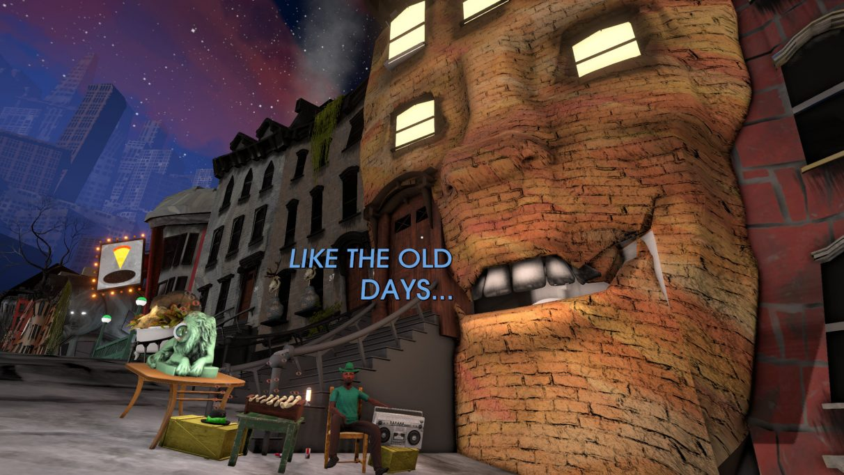 A building with a face, talking, in a Tales From Off-Peak City screenshot.