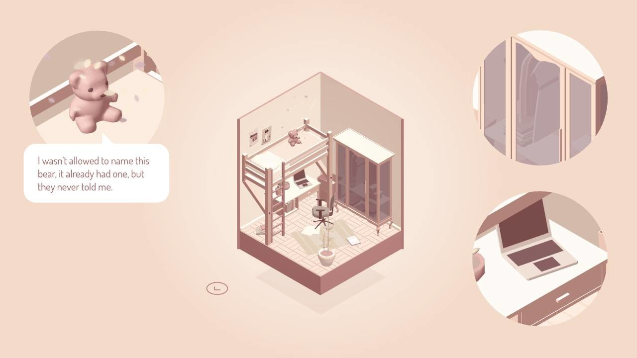 A sepia-tone screenshot of another bedroom, this one with one of those combined desk/raised bed setups. Clearly a child's room. Around the diorama are three circles showing zoomed in details from the room - the wardrobe, the laptop on the desk, a teddy bear that the player character says they weren't allowed to name