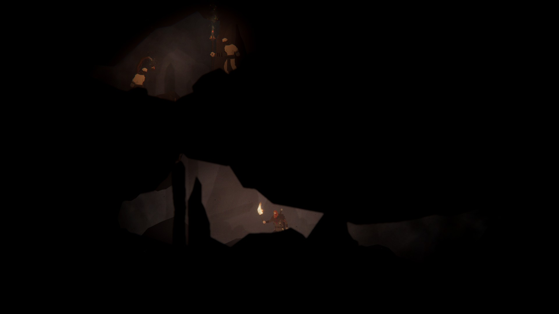 Our brave fellow holds a torch and trudges along a tunnel in a dark cave system. The ceiling is low. Above him, in another bit of cave, we see what look like two figures, possibly lying in wait for him.