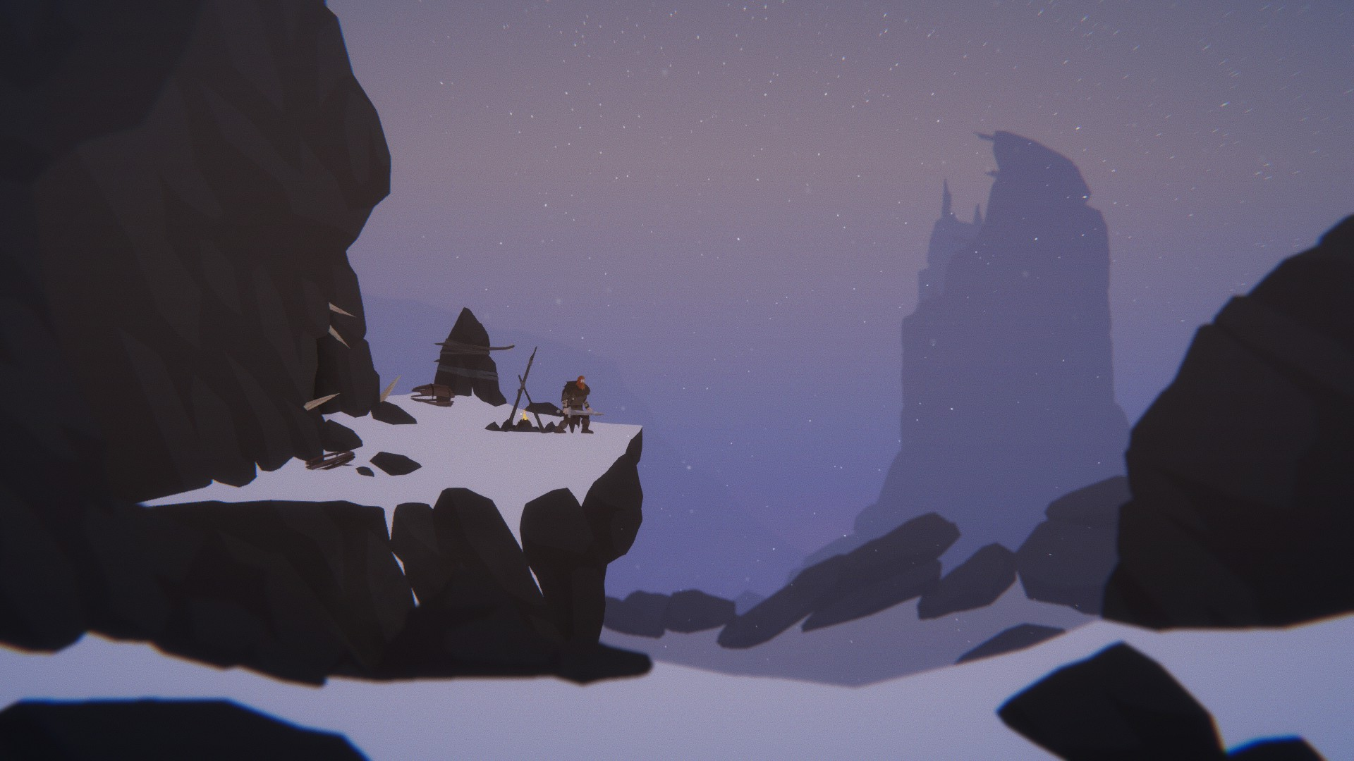 Our warrior man stands on a snowy outcrop next to a tiny campfire. He holds his sword and looks outwards.
