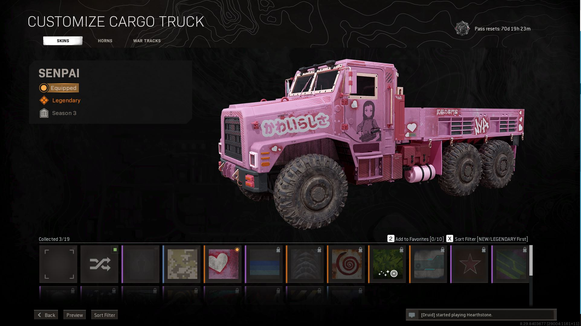 A Warzone truck with the 'Senpai' skin can be customised to add all kinds of songs and war tracks.
