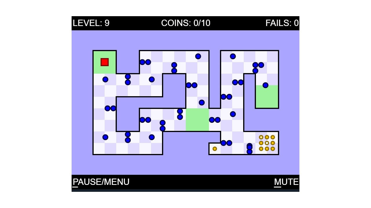 Another image from the World's Hardest Game which shows a snaking stage filled with devious little blue dots to dodge.