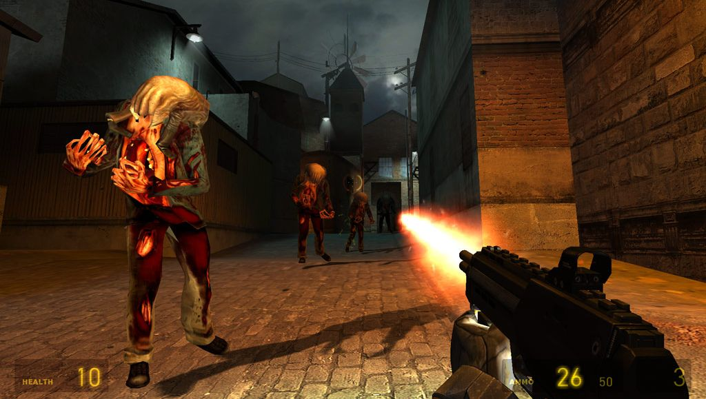 A screenshot of Half-Life 2, mid-Ravenholm. The player is firing a machine gun down a street as headcrab zombies advance