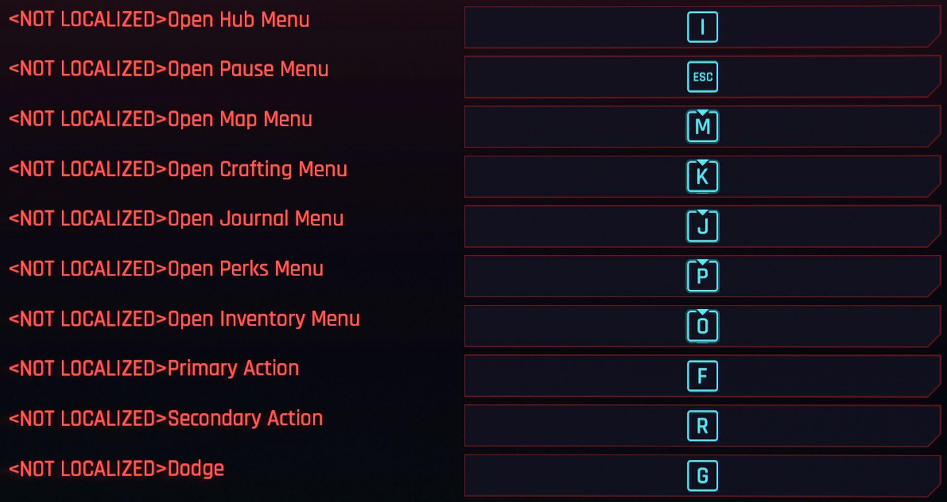 A screenshot of Cyberpunk 2077's expanded control settings menu
