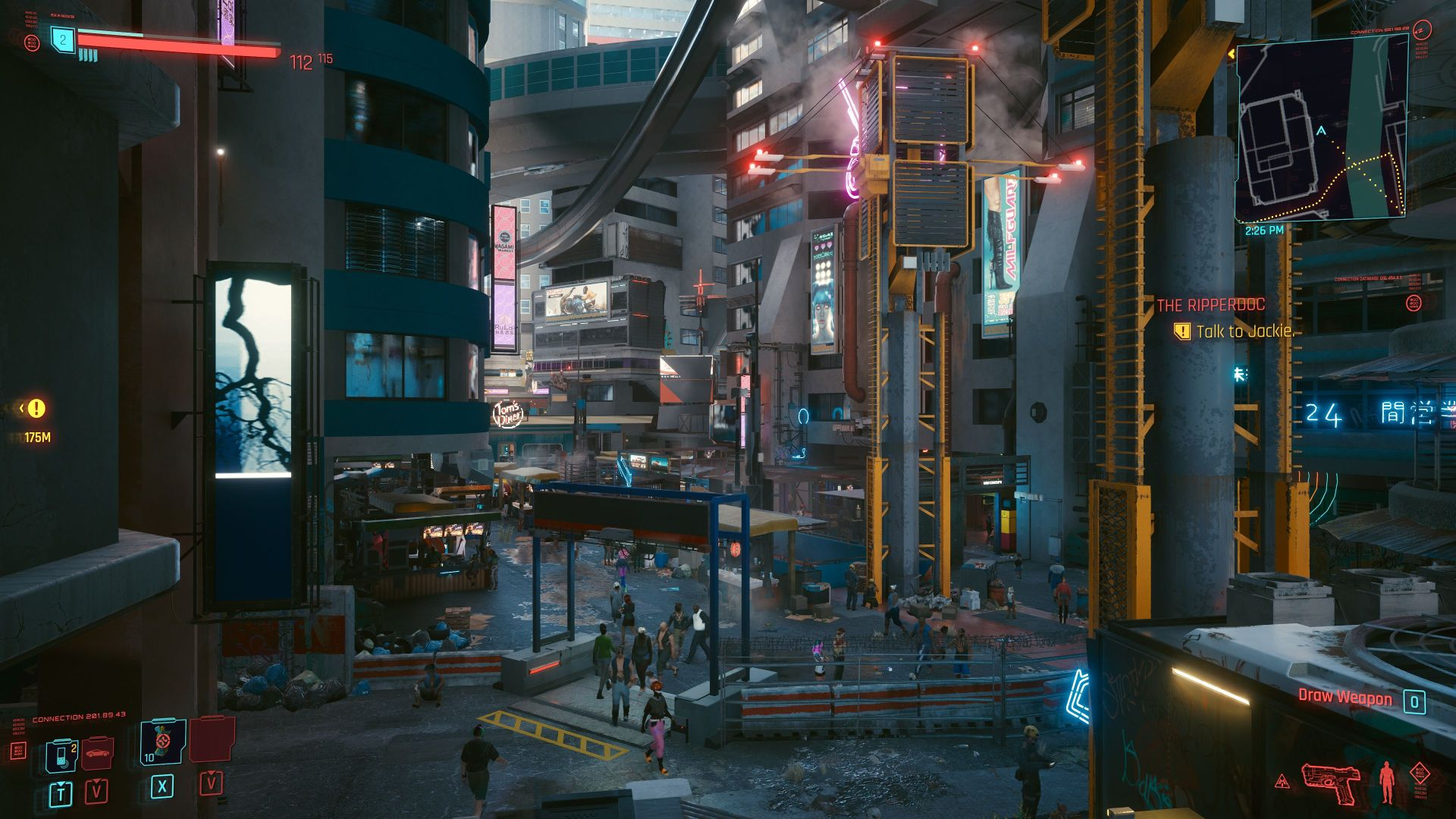 A shot of Cyberpunk 2077, showing a street scene with more detail than you'd generally see
