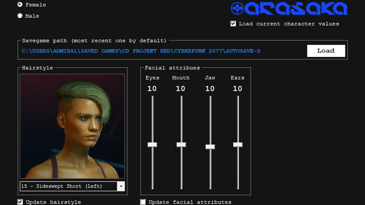 An external program for Cyberpunk 2077, showing an in-game character and appearance sliders.