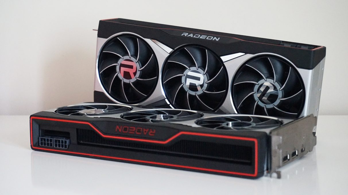 A photo of the AMD Radeon RX 6800 XT behind the RX 6800.