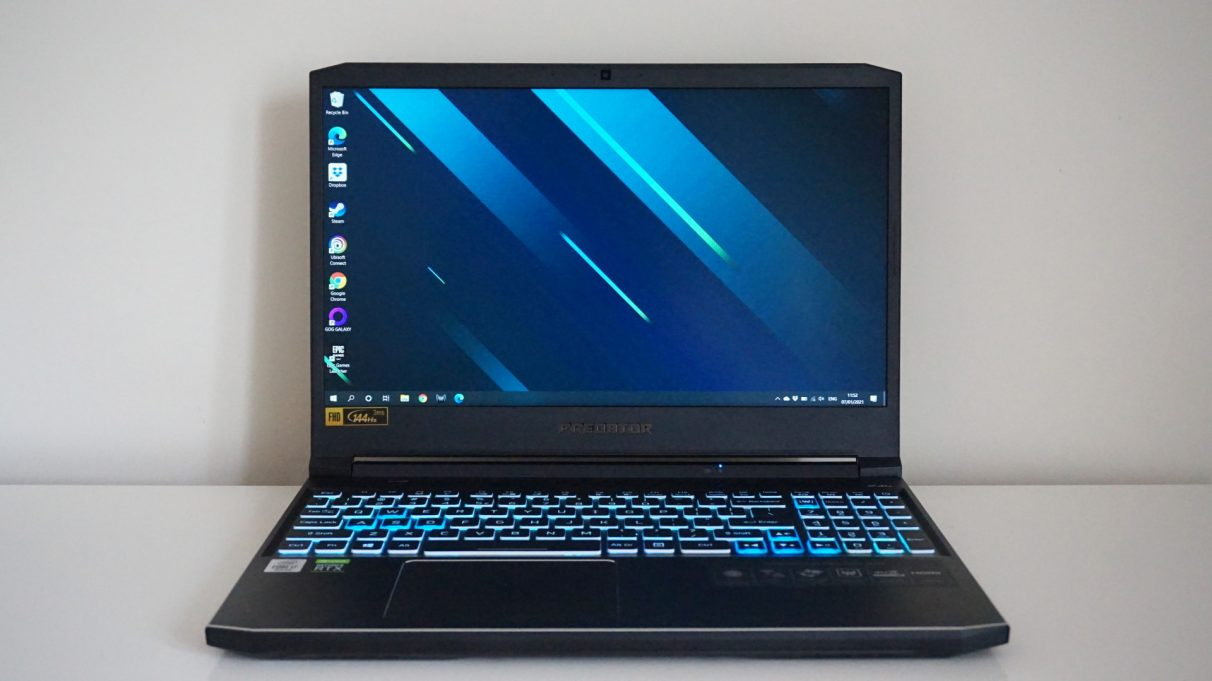 A face-on photo of the Acer Predator Helios 300 gaming laptop.