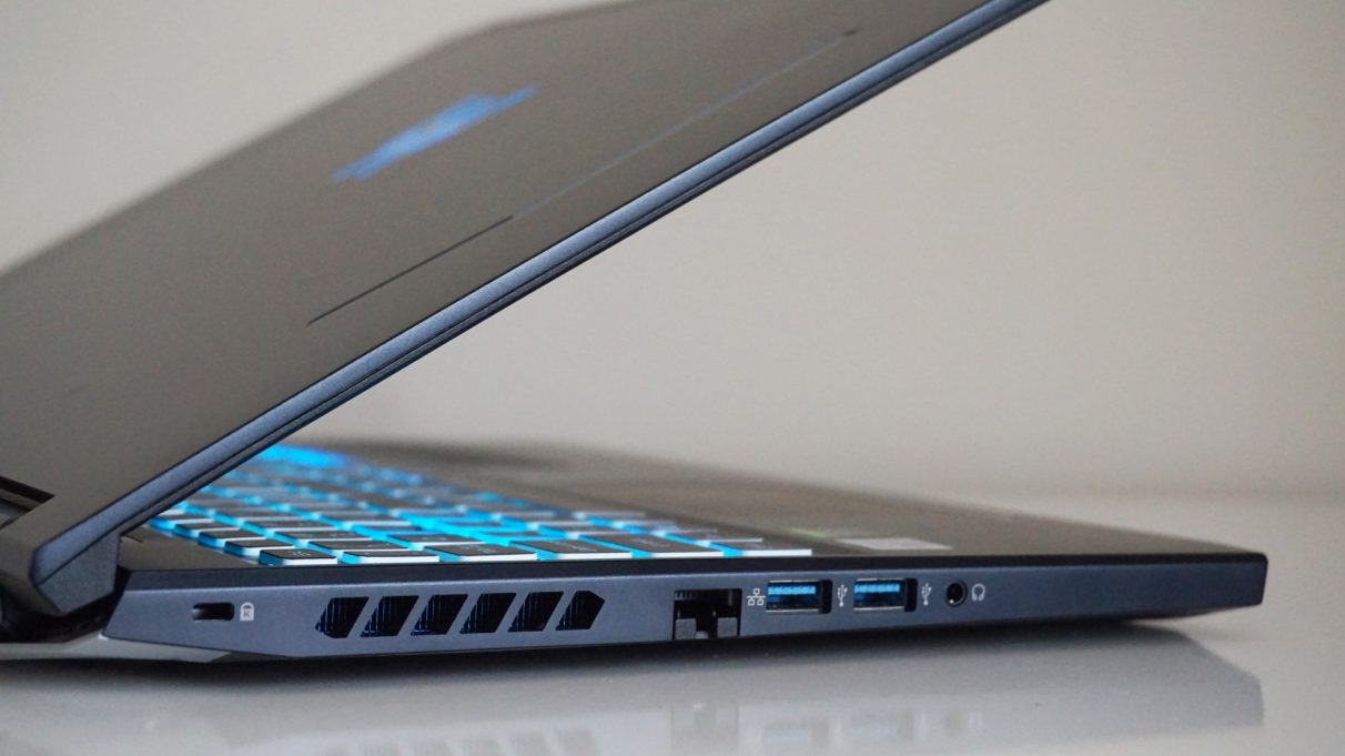 A photo of the Acer Predator Helios 300's USB ports and Ethernet port.