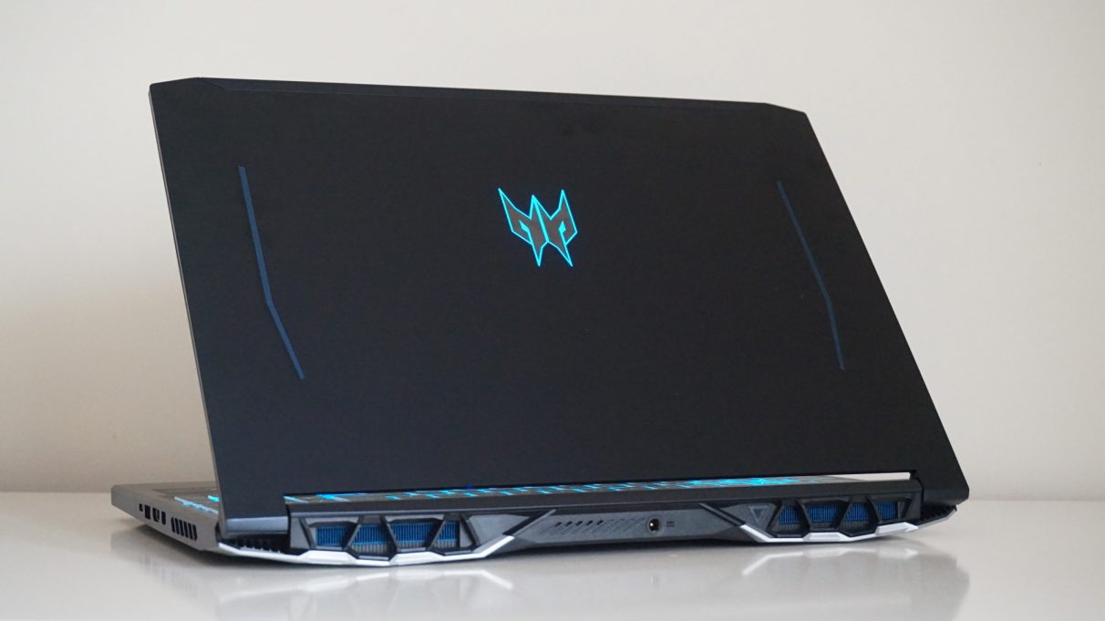 A photo showing the rear design of the Acer Predator Helios 300 gaming laptop.