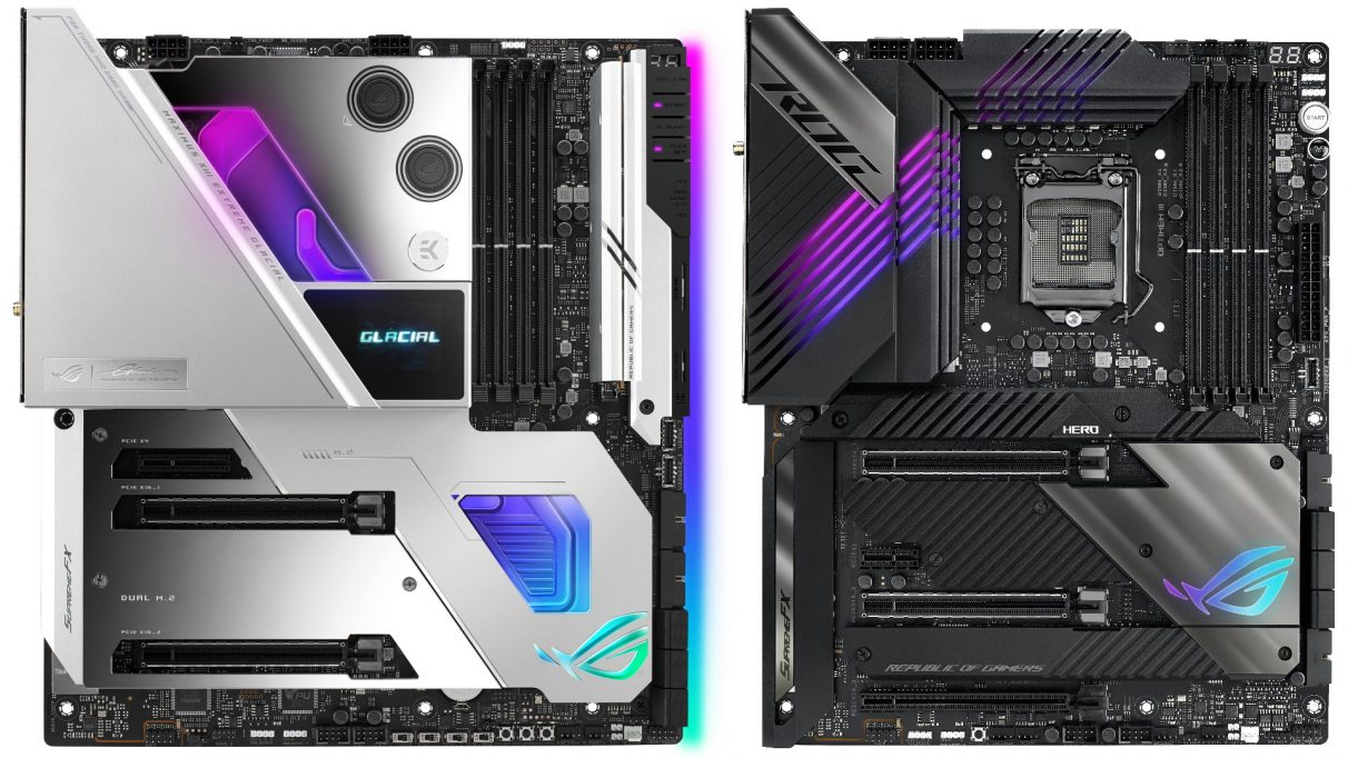 Asus' ROG Maximus XIII Extreme Glacial Z590 motherboard next to their non-Glacial Maximus XIII Extreme motherboard.