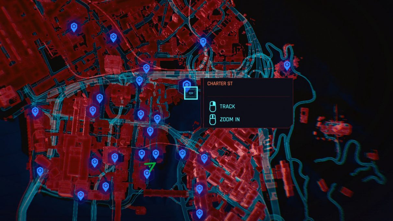 Tangkapan layar peta Cyberpunk 2077, menunjukkan Charter St - titik perjalanan cepat terdekat dengan Legendary Monowire.