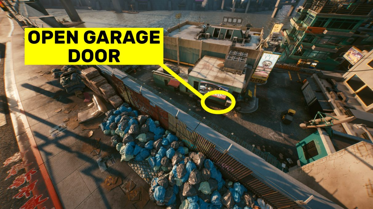 A screenshot of the garage door you must open in order to see the crate with the Legendary Monowire inside.