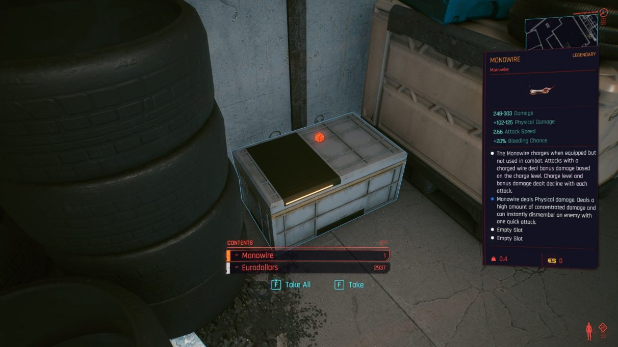 A screenshot of the crate with the Legendary Monowire inside.