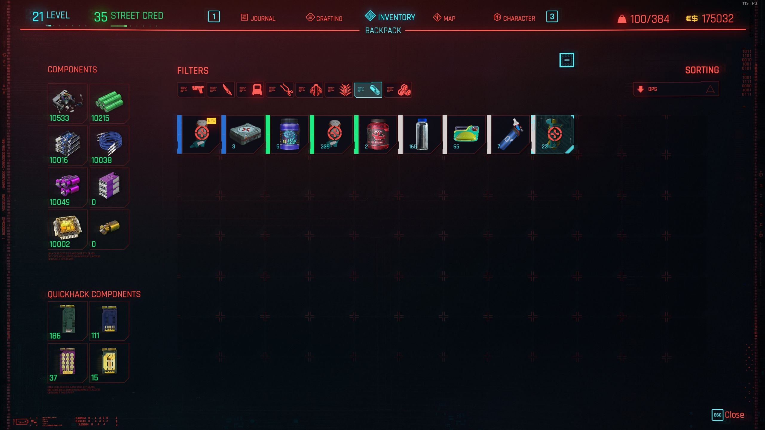 A screenshot of Cyberpunk 2077's inventory.  The mad has reduced a huge number of items down to a single line