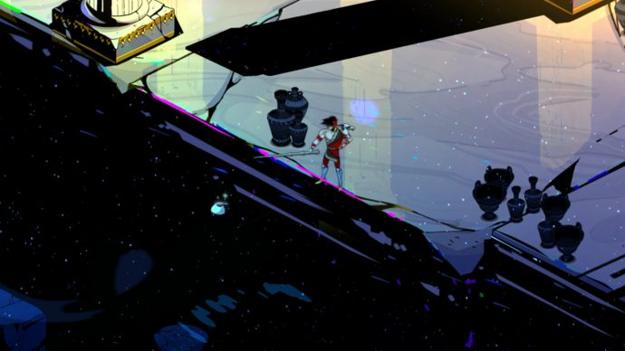 A screenshot of Zagreus fishing in the Chaos realm of Hades.