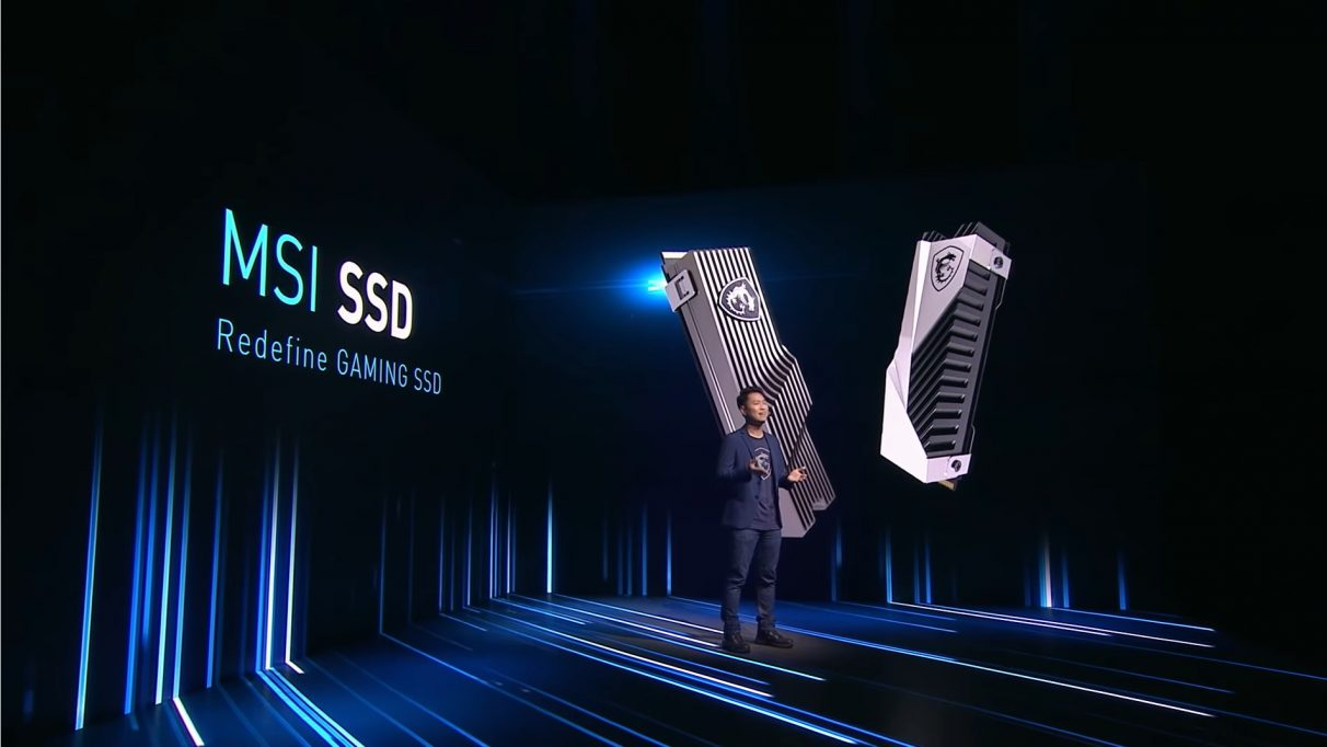 A photo from MSI's CES 2021 press conference where they unveiled their first SSD.