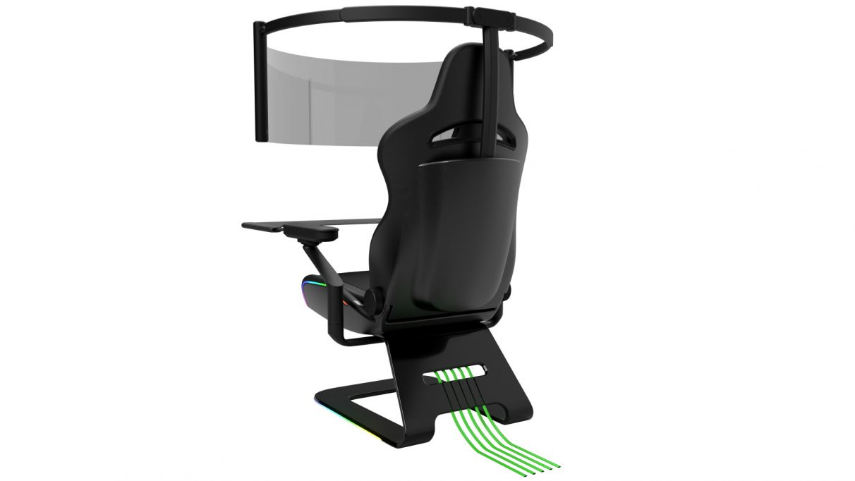 An image showing the rear of Razer's Project Brooklyn gaming chair.