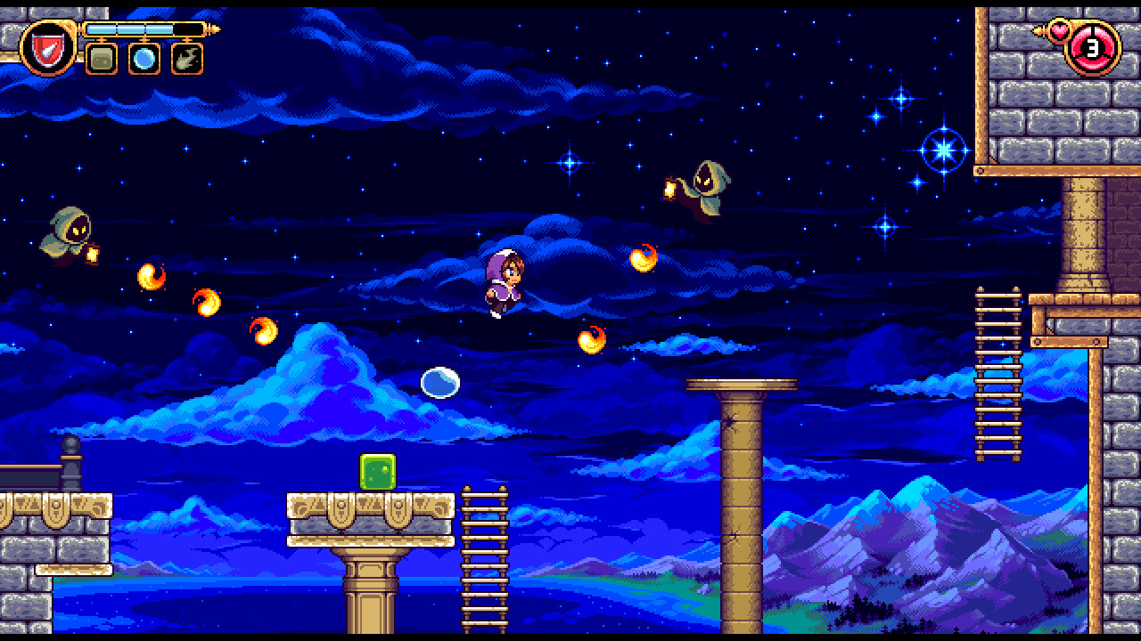 A screenshot of Alwa's Legacy, as the player character jumps and avoids some fireballs shot by some spooky ghost enemies