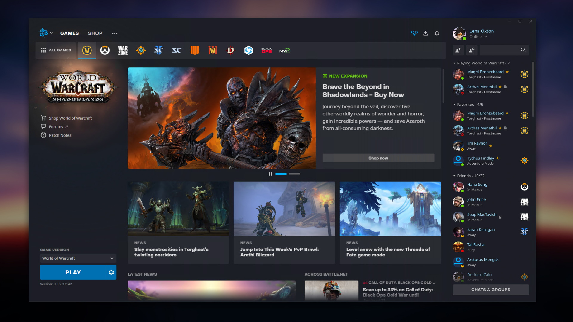 The new Battle.net launcher's homepage.